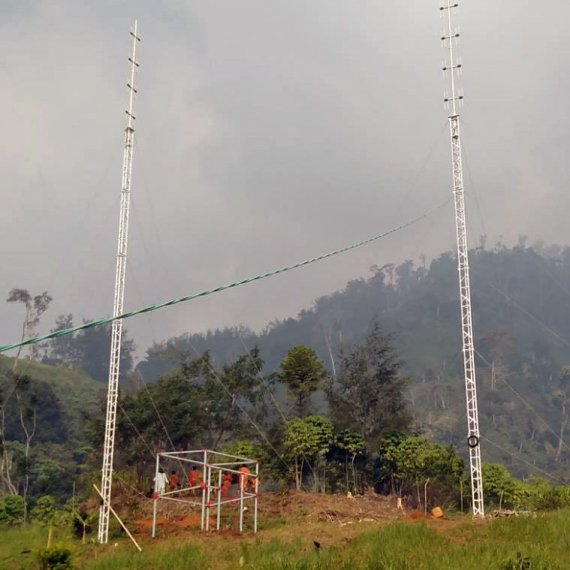 AL340 guyed aluminium lattice tower installed in PNG