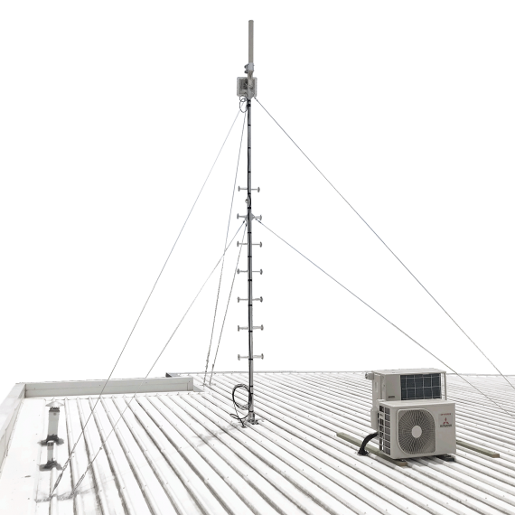 Climbable galvanised steel pegged roof mast with guy wires